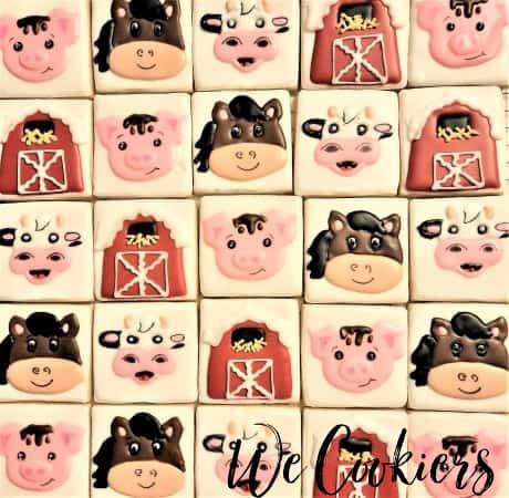 inspiration of barnyard animal sugar cookies