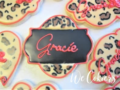 Leopard print name on cookie plaque cutter at WeCookiers.com