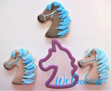 Horse head cookies using a unicorn cutter. Flip cutters