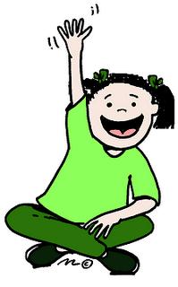 Clipart of girl raising hand